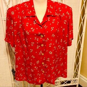 Liz Claiborne VINTAGE red cherry print blouse 16W